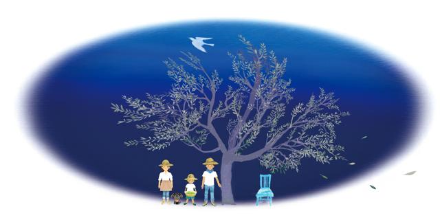 山田オリーブ園 家族 オリーブの木と鳥