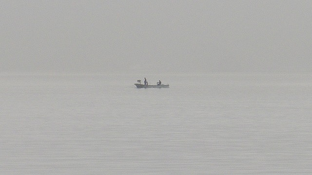 何が網にかかっているのだろう 島影と海が入り混じる時刻 小豆島 内海湾