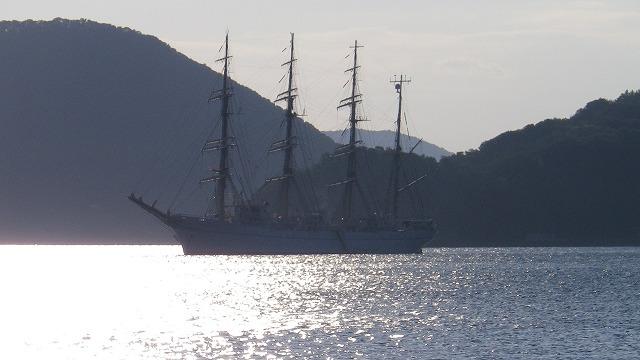 対岸の田ノ浦半島から何か出てきたと思ったら帆船 小豆島 内海湾