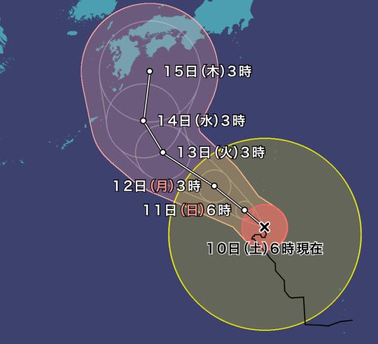 台風10号進路予想2019.8.10