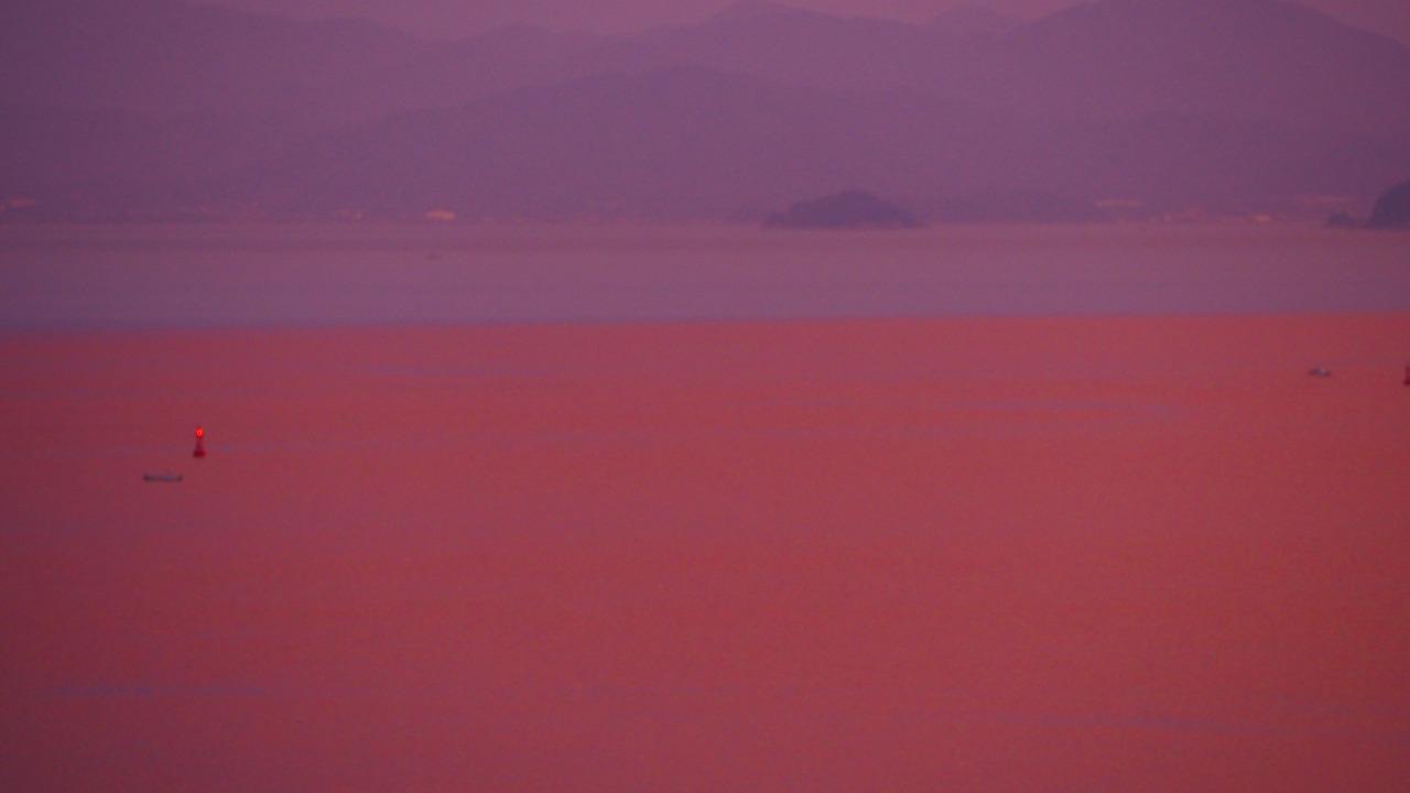 小豆島内海湾の真夏の夕焼け